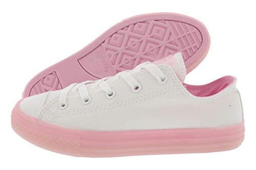 Converse Girls' Chuck Taylor All Star Translucent Color Midsole Low Top Sneaker, White/Cherry Blossom, 5 M US Big -