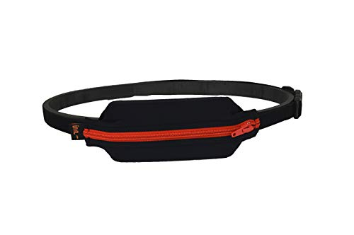 (SPIbelt Kids No-Bounce Belt with Hole for Insulin Pump, Medical Devices or Headphones for Active Kids! (Black with Red Zipper))