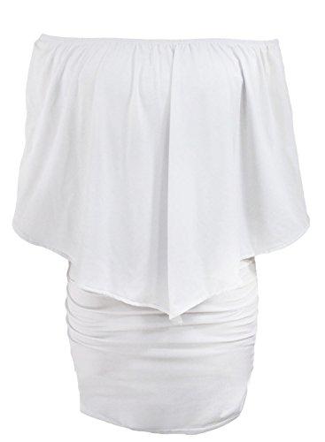 Sidefeel Women Plus Size Off Shoulder Ruffles Clubwear Mini Dress XX-Large White