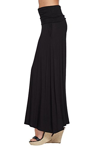 Annabelle Women's Comfy High Waist Fold Over Wide Leg Palazzo Pants with Pockets