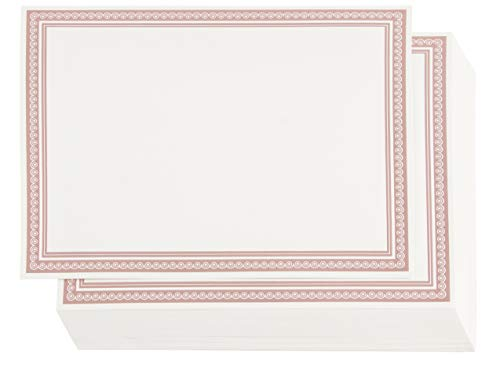 Award Certificates - 50 Blank Plain Paper Sheets - with Rose Gold Foiled Metallic Border Computer Paper - Laser and Inkjet Printer Compatible - 11 x 8.5 Inches -
