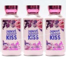 Lot of 3 Bath & Body Works Sweet Summer Kiss Shea & Vitamin E Body Lotion 8 fl oz/ 236 mL each (Sweet Summer Kiss)