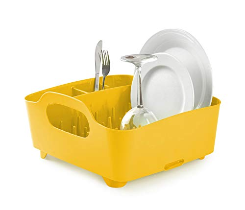 Umbra Tub Dish Drying Rack - Lightweight Self-Draining Dish Rack for Kitchen Sink and Counter at Home, RV or Motorhome, Canary Yellow