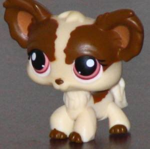Littlest Pet Shop Chihuahua Puppy Dog # 385 (Creme And Brown With Burgundy Eyes) - LPS Loose Figures - Replacement Pets - LPS Collector Toy (Out Of Package/OOP)