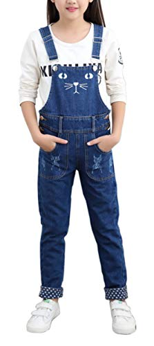 Price comparison product image Girls Big Kids Jumpsuits Jeans Denim Bib Overalls for Size 4-13 Years Blue 150