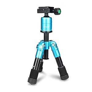 AFAITH Trípode de aleación de aluminio portátil Ultra Compacto Mini mesa Kit Macro cabeza de la bola del trípode para Canon Nikon DSLR fotografía y videocámaras - Azul