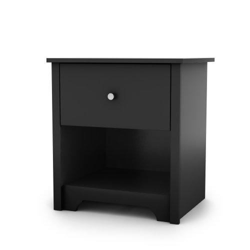 Open Rectangle Table Lamp (South Shore Vito Collection Night Stand, Black)