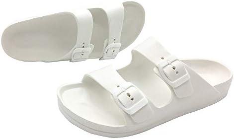 LUFFYMOMO Adjustable Slip on Eva Double Buckle Slides