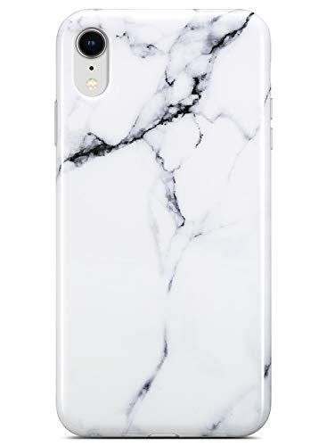 Coolwee iPhone XR Case,iPhone XR Marble Case Shockproof Slim Glossy White Marble Pattern Design Women Girls Men Rubber 10r Gel Bumper Soft Flexible TPU Case Cover for Apple iPhone XR 6.1 inch - White
