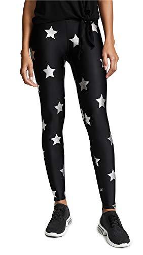 Terez Women's Silver Star Foil Printed Leggings, Silver Star Foil/Black, Medium