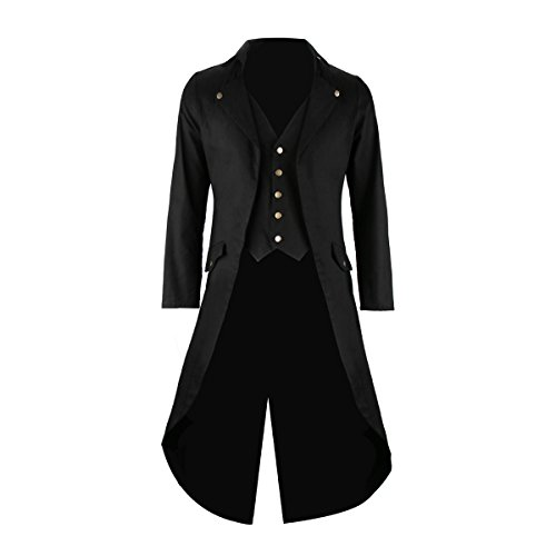 Mens Gothic Tailcoat Tuxedo Jacket Black Steampunk VTG Victorian Costume Long Frock Coat (X-Large)]()