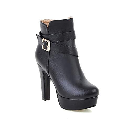 Black US8   EU39   UK6   CN39 Black US8   EU39   UK6   CN39 Women's Comfort shoes PU Fall & Winter Boots Chunky Heel White Black   Almond