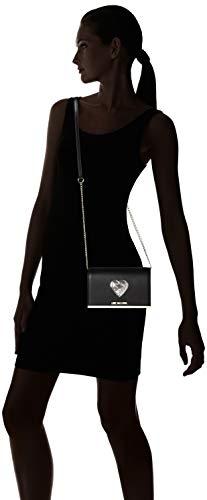 sequins Negro Nappa Love de Moschino Argento Mujer bolsos Borsa hombro y Pu Shoppers Nero 7pw6vqw