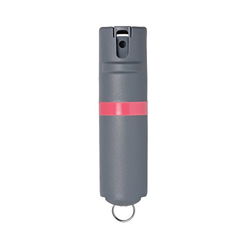 POM Grey Pepper Spray Keychain Model - Maximum Strength Self Defense OC Spray Safety Flip Top 10ft Range Compact Discreet for Keys Backpack Quick Key Release (Coral