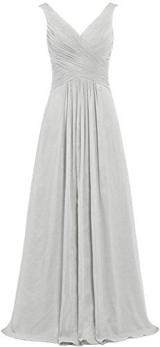 Chiffon Dresses Silver ANTS Gowns Bridesmaid Neck Sleeveless Long Women's V xRqR60Bw