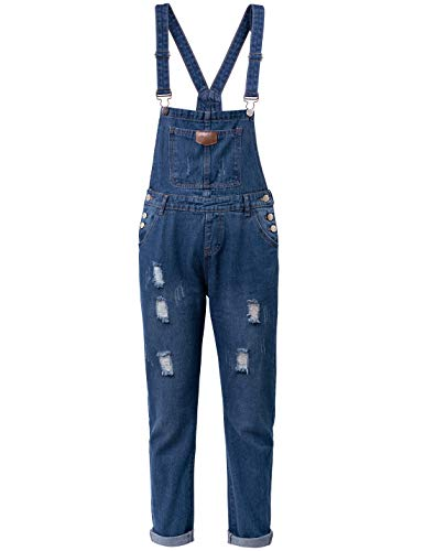 Yeokou Women's Casual Denim Bib Cropped Overalls Pant Jeans Jumpsuits (Medium, Style12 DarkBlue)