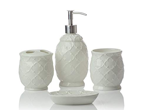 Designer 4-Piece Ceramic Bath Accessory Set | Includes Liquid Soap or Lotion Dispenser w/Toothbrush Holder, Tumbler, Soap Dish | Moroccan Trellis | Contour White from Comfify