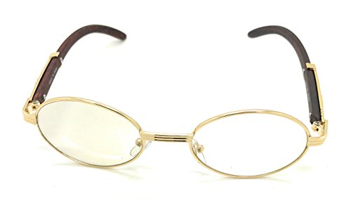 Clear Lens Eyeglasses Unisex Vintage Fashion Oval Frame Glasses Yellow Gold UV400 Protection (Oval, (Medium Oval Frame)