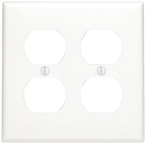 Leviton 80716-W 2-Gang, 2-Duplex, Standard Nylon Wallplate, Wallplate, White