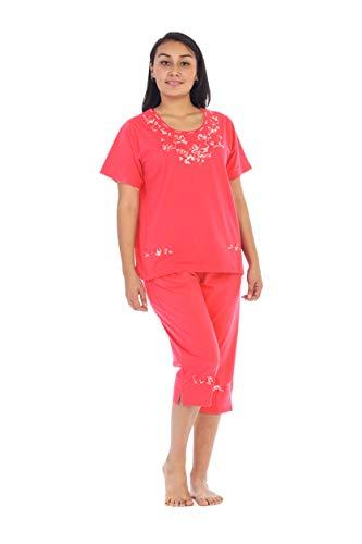 unik Women's Short Sleeve Embrodiered Butterflies Blouse and Matching Capri Set, Coral Size 2XL by unik