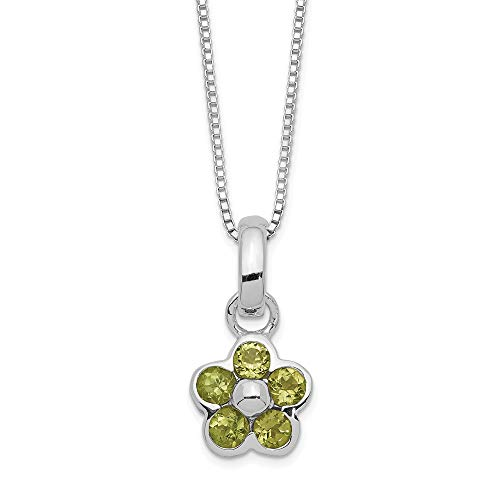 925 Sterling Silver Green Peridot Flower Pendant 16 Chain Necklace Inch Charm Floral Fine Jewelry Gifts For Women For Her