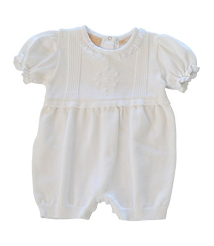 Boutique Collection Baby Girl's Knit Christening Bloomer W/Flower Detail + Bonnet (6M) (Apparel Collection Infant)