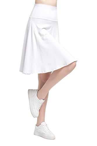 [해외]Modeway 여성용 모달 하이 웨스트 플레어 라인 포켓이 달린 미디 스커트/Modeway Women`s Modal High Waist Flared A Line Pleated Midi Skirts with Pockets