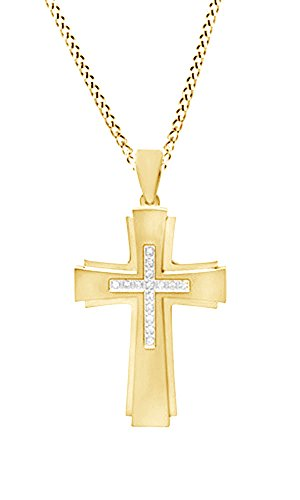 14k Gold Mens Diamond Cross (White Natural Diamond Men's Cross Pendant Necklace in 14k Yellow Gold Over Sterling Silver (0.17 Ct))