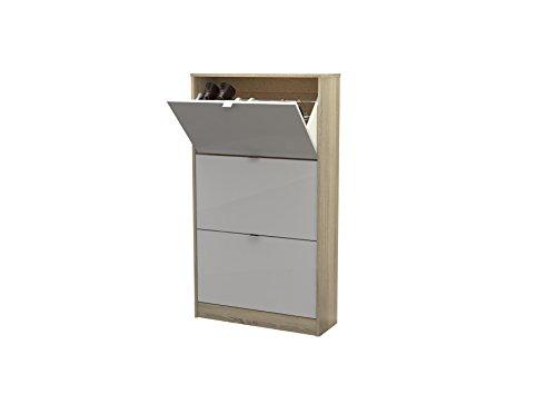 Tvilum 94047akuu Bright 3 Drawer Shoe Cabinet, Oak Structure/White High Gloss (Drawer Shoe Cabinet)