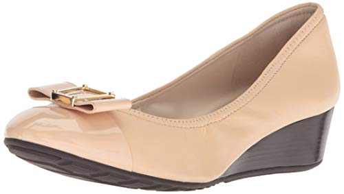 Cole Haan Women's Emory Bow Wedge (40MM) Pump, Nude Leather, 9.5 B - Bow Front Wedge