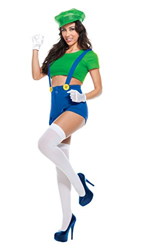 Starline Women's Green Video Game Player 4 Piece Costume Set, Green, (Mario And Luigi Womens Costumes)