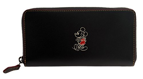 COACH MICKEY Accordion Zip Wallet In Glove Calf Leather (Black) by Coach