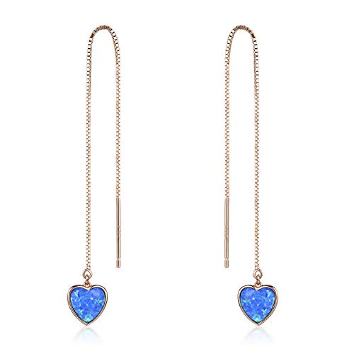 Heart Threader Earrings, Opal Threader Earrings 18K Rose Gold Plated Sterling Silver Long Chain Earring for Women - Gold Opal Heart Ring