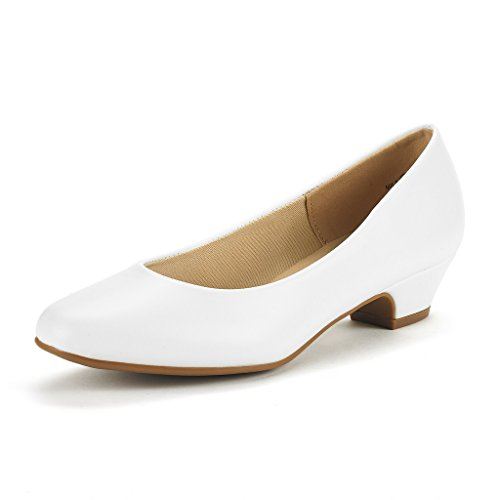 Heel Shoes Womens Shoes (DREAM PAIRS Women's Mila White PU Low Chunky Heel Pump Shoes Size 8 M US)