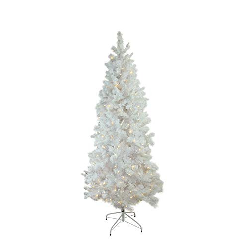 Northlight 7.5' x 43' Pre-Lit Flocked White Pine Slim Artificial Christmas Tree - Warm White LED...