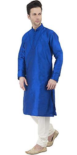 Kurta Pajama Long Sleeve Button Down Dress Shirt Indian Men Wedding Ethnic Casual Dress Traditional Set -XL by SKAVIJ (Image #3)