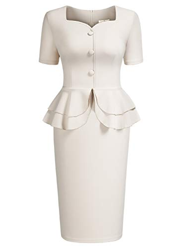 (AISIZE Women 1940s Vintage Sweetheart Ruffles Peplum Dress X-Large Beige)