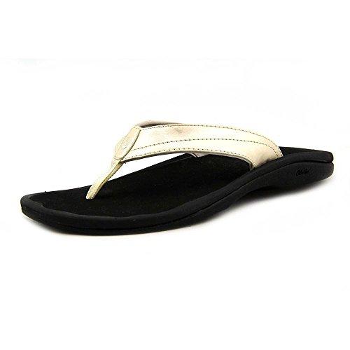 (OLUKAI Women's Ohana Sandal, Platinum/Black, 10 M US)