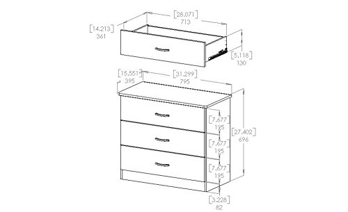 South Shore Libra Collection 3-Drawer Chest, Black