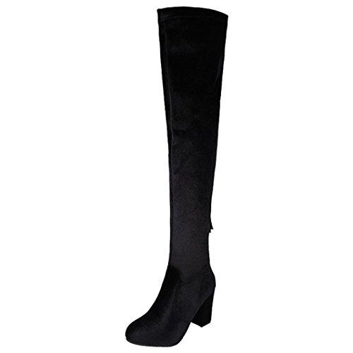 Elevin (tm) 2018women Hiver Stretch Troupeau Cuissardes Hautes Bottes Au-dessus Du Genou Bottes Talons Hauts Chaussures Noir