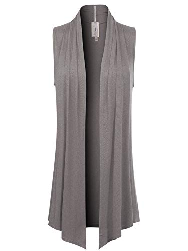 Instar Mode Women's [Made in USA] Open Front Draped Waterfall Sleeveless Shawl Cardigan Vest (S-3XL), Ivew012 Heather Grey, XX-Large