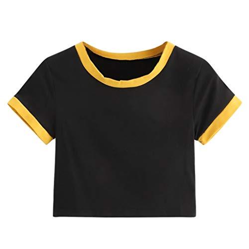 Sunhusing Summer Ladies Teen Girl Solid Color Round Neck Short Sleeve Navel Short T-Shirt Tops - Inch Cream 35