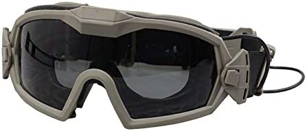 DONGKER Tactical Anti-Fogging Goggles with Fan Airsoft Outdoor Shock Resistance Cycling Ultraviolet Protection Eyewear Transparent Lens
