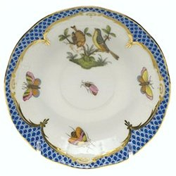 Herend Rothschild Bird Blue Border After Dinner Saucer -