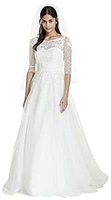 David's Bridal 3/4 Sleeve Wedding Dress with Lace and Tulle Skirt Style WG3742