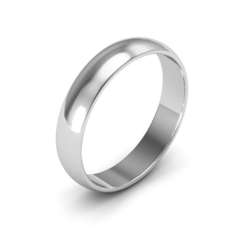Platinum men's and women's plain wedding bands 4mm half round light, 10 by i Wedding Band