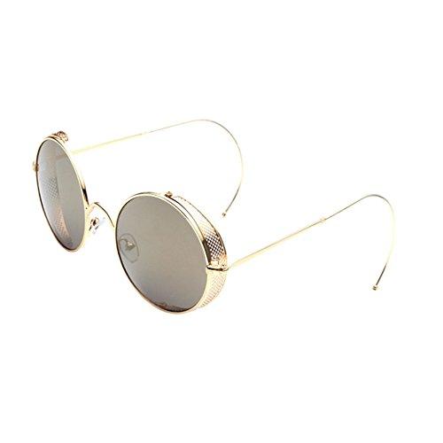 Marrón Fashion Unisex Gafas UV400 Redondas Mujer Style Marco Clásico Retro Oro Metal Protector de Xinvision sol A4wZpBZq