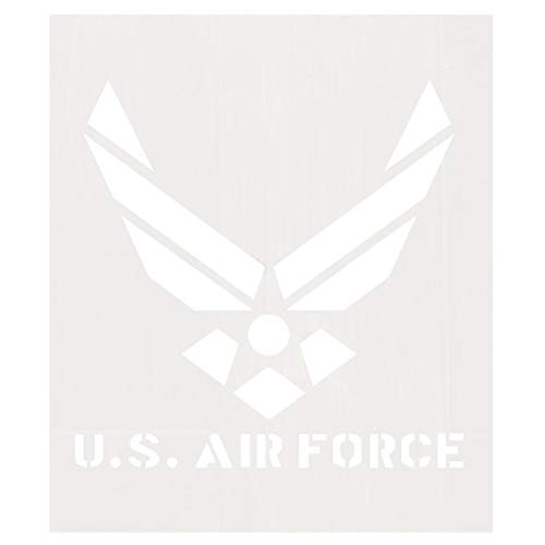 Cooyeah Air Force Stencil Reusable Air Force Logo Stencil 12 x 14 Inches Milky Mylar Template for The Wall, Furniture, Wood Products, Cloth, T-Shirt Spray ()