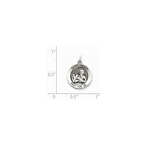 925 Sterling Silver Engravable Antiqued Saint Andrew Pray for Us Religious Medal Charm