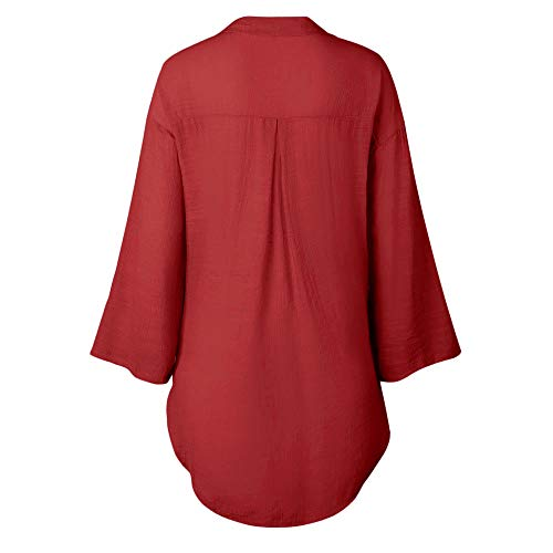 for Tops Hiver Femme DContract Chemisier Women Longues Manches Dames Manches Couleur Rouge LaChe Unie Manteau Longues Prr7t